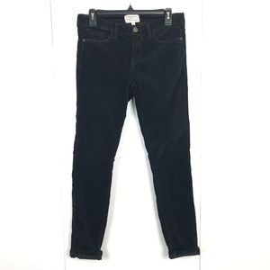 CURRENT ELLIOT BLACK VELOUR MID RISE SKINNY JEANS